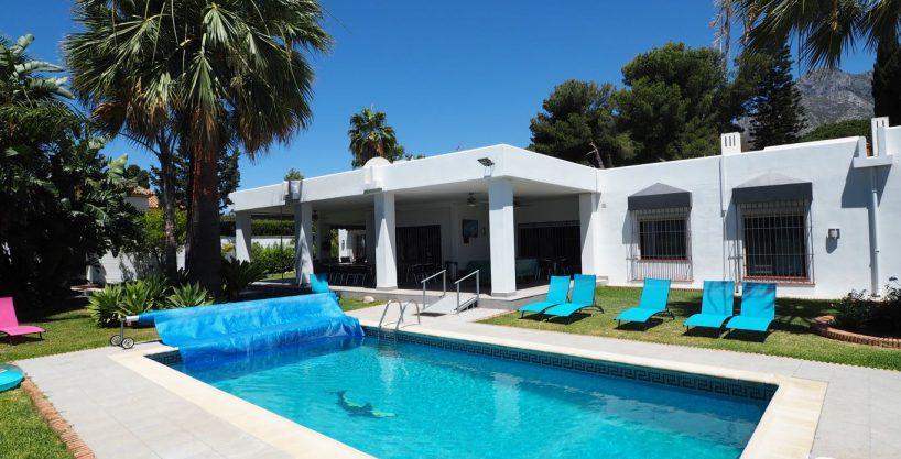 Partially refurbished 10 bedroom Villa in a Great location on the Golden Mile in Marbella for Sale